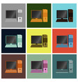 set icons in flat design computer vector image
