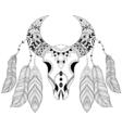 Zentangle boho animal skull with bird feathers vector image