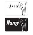 name card jazz saxophone black background i vector image