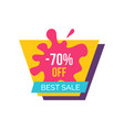 70 off best sale label on vector image vector image