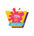 70 off best sale label on vector image