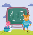 back to school cute deer chalkboard apple on vector image vector image