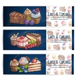 Bakery confectionery pastries desserts poster vector image vector image