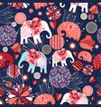 beautiful seamless pattern enamored elephants vector image vector image