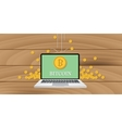 bitcoin money with laptop and gold coin vector image vector image