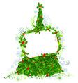 Blank sign on Christmas tree vector image vector image
