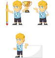 Blonde Rich Boy Customizable Mascot 13 vector image