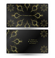 business card gold ornament on a black background vector image vector image