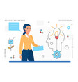 business idea woman character and light bulb vector image vector image
