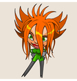 cartoon character cheerful girl with red hair vector image vector image