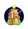 cartoon character couple in santa clothers taking vector image vector image