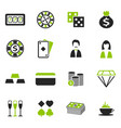 casino icons set vector image