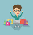 caucasian woman using a laptop for online shopping vector image vector image