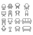 chair icon set in thin line style vector image vector image
