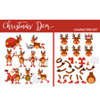 christmas deer character set winter holiday animal vector image