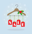christmas holiday red hanging sale tags on hanger vector image vector image