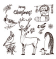 christmas horned deer and animals new year vector image