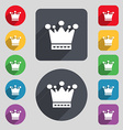 Crown icon sign A set of 12 colored buttons and a vector image vector image