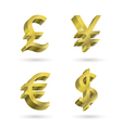 currency gold symbols vector image