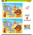 differences game with cartoon animal characters vector image vector image