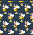 easter bee seamless pattern vector image vector image