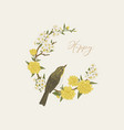 floral wreath with bird vector image vector image