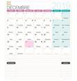 french calendar - december 2019 vector image vector image
