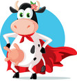 funny super heroine cow mascot cartoon vector image