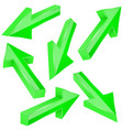 green 3d arrows set of shiny straight signs vector image vector image