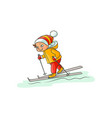 happy little boy in warm clothes skiing downhill vector image vector image