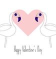 happy valentine s day pair flamingo vector image vector image