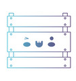 kawaii wooden basket in degraded blue to purple vector image vector image