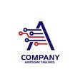 letter a tech logo vector image vector image