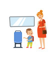 little boy giving way to pregnant woman in public vector image