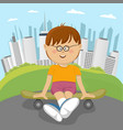 little nerd boy sitting on a skateboard in park vector image