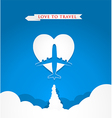 Love travel concept with airplane on heart shape vector image