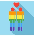 Male couple in rainbow colors icon flat style vector image