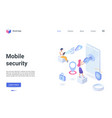 mobile security technology isometric landing page vector image vector image