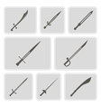 monochrome icons with swords vector image