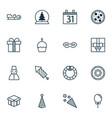 new icons set with party hat glass toy festive vector image