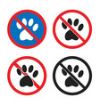 no pets allowed sign animal prohobition icon set vector image vector image