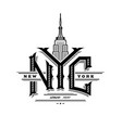 nyc letters and empire state building new york vector image