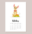 october dog 2018 year calendar vector image vector image