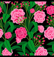 pink flowers with green leaves pattern vector image