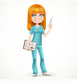Redhead nurse in green suit preparing make an vector image vector image