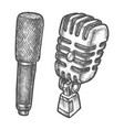 retro and modern microphone sketch vector image vector image