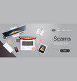 scam alert internet fraud hacking scams concept vector image vector image