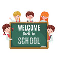 school kids with chalkboard isolated on white vector image vector image