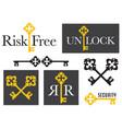 set antique key emblem graphics vector image vector image
