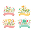 set floral bouquets and romantic frames vector image